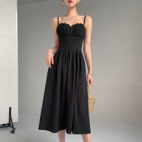 Dress Summer 2021 black S,M,L Mid length dress singleton  Short sleeve commute square neck High waist Solid color Socket A-line skirt other Others Type A Korean version More than 95% other other