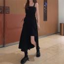 Dress Summer 2021 black S,M,L Miniskirt singleton  Sleeveless commute square neck High waist zipper Irregular skirt other straps Type A Korean version Frenulum More than 95% other other
