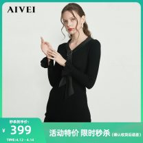 Dress Winter of 2019 Black, apricot S,M,L,XL Short skirt singleton  Long sleeves commute V-neck High waist Solid color Ruffle Skirt Lotus leaf sleeve 25-29 years old AIVEI lady L0660034 31% (inclusive) - 50% (inclusive) acrylic fibres