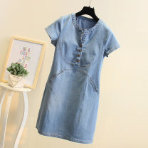 Dress Summer of 2019 Dark blue light blue S M L XL XXL XXXL Mid length dress singleton  Short sleeve commute V-neck middle-waisted Solid color Socket Princess Dress routine Others 18-24 years old Goldolfen Korean version Pocket button More than 95% Denim other Other 100% Pure e-commerce (online only)