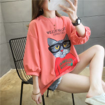 T-shirt Orange black white M L XL XXL Spring 2021 Short sleeve Crew neck easy Regular routine commute polyester fiber 51% (inclusive) - 70% (inclusive) 18-24 years old Korean version originality Cartoon animation mosaic Naris  Three dimensional decoration with printing and stitching