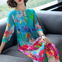Dress Spring of 2019 Decor, off white S,M,L,XL,XXL Mid length dress singleton  three quarter sleeve commute Crew neck Loose waist other Socket Big swing routine Others 30-34 years old Type A Silk guard lady Stitching, printing A18C1442MXXB other silk