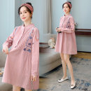 Dress Eugene Long sleeve Korean version Medium and long term autumn stand collar Solid color 100% cotton Y3S8N6SJYX M L XL XXL