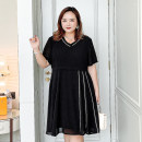Women's large Summer 2021 Black [spot], black [payment 10-15 days delivery] 1F (145-170), 2f (170-195), 3f (195-220), 4f (220-245), 5F (245-280) Dress singleton  commute easy thin Socket Short sleeve Solid color Korean version V-neck Three dimensional cutting routine ZR-5508 Sweet search