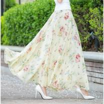 skirt Summer 2020 2XL,3XL,L,M,XL Black tulip, blue rose, green lily, beige peony, temperament bamboo leaf, dark blue yellow flower, ink peony, ink bamboo, warm and comfortable, elegant gray flowers longuette High waist Broken flowers Chiffon Other / other printing