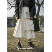 skirt Spring 2020 L,M,S Black, apricot, white, blue Mid length dress Versatile High waist A-line skirt Solid color Type A 18-24 years old 71% (inclusive) - 80% (inclusive) other cotton Pockets, buttons, folds