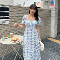 Dress Summer 2021 Broken blue flower L,XL,2XL,3XL,4XL longuette Short sleeve Sweet square neck High waist other puff sleeve Type A other polyester fiber