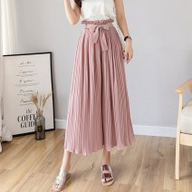 Casual pants Black, apricot, coffee, grey, pink S,M,L,XL,2XL Summer 2020 Ninth pants Wide leg pants High waist commute routine 18-24 years old 51% (inclusive) - 70% (inclusive) K-023 other Korean version