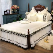 Bedding Set / four piece set / multi piece set Others other Solid color 200x95 Other / other cotton 4 pieces 60 Long staple cotton set. Black lace (bed surface single layer), long staple cotton set. Black lace (bed surface with cotton) Bed skirt Qualified products Princess style 100% cotton