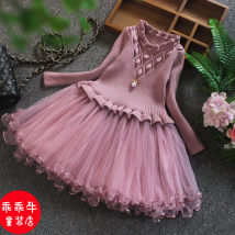 Dress Yellow red pink Other / other female 73cm 80cm 90cm 100cm 110cm 120cm Other 100% spring and autumn other Long sleeves other cotton Cake skirt one thousand two hundred and fifteen Class B