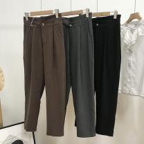 Casual pants Black 2, gray 3, Brown 1 XS,S,M,L,XL Spring 2021 trousers Straight pants High waist commute thickening 18-24 years old 30% and below SH311841 cotton Korean version cotton