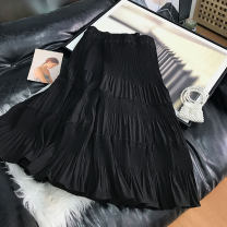skirt Spring 2021 Average size black Mid length dress commute High waist A-line skirt Solid color 18-24 years old SS110705 30% and below other cotton Korean version 40g / m ^ 2 and below