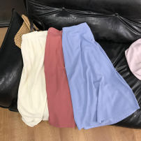 skirt Spring 2021 Average size Pink 2, light blue 4, apricot 1, jujube 3 Mid length dress commute High waist A-line skirt Solid color 18-24 years old SH311931 30% and below other cotton 40g / m ^ 2 and below