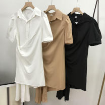 Dress Summer 2021 Average size Mid length dress singleton  elbow sleeve commute Polo collar middle-waisted Solid color Socket One pace skirt routine Others 18-24 years old Korean version 30% and below other cotton