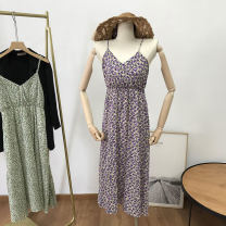 Dress Summer 2021 Green 2, purple 1 Average size Mid length dress singleton  Sleeveless commute One word collar middle-waisted Socket One pace skirt routine 18-24 years old Korean version SH312358 30% and below other cotton
