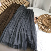 skirt Winter 2020 Average size Brown, grey Mid length dress commute Natural waist Solid color Type H 18-24 years old SH309702 30% and below other cotton Korean version 40g / m ^ 2 and below