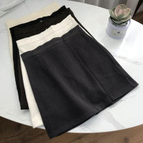 skirt Winter 2020 S,M,L Off white, apricot, black, brown, grayish blue Short skirt commute High waist A-line skirt Solid color Type A 18-24 years old SS109853 30% and below other cotton Korean version 40g / m ^ 2 and below