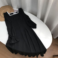 Dress Summer 2021 black S,M,L,XL longuette singleton  Long sleeves commute middle-waisted Solid color Socket One pace skirt routine 18-24 years old Korean version SH312530 30% and below other cotton
