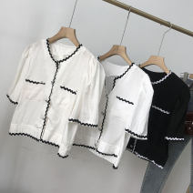 shirt White 1, off white 3, black 2 Average size Summer 2021 cotton 30% and below Short sleeve commute Regular V-neck Single row multi button routine Solid color 18-24 years old Straight cylinder Korean version SS112164 cotton