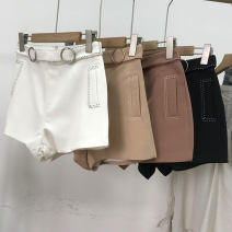 Casual pants White 4, black 1, khaki 5, apricot 2, brown 3 S,M,L Spring 2021 shorts Straight pants High waist commute routine 18-24 years old 30% and below SS111304 cotton Korean version Sticking cloth cotton
