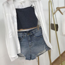 Jeans Spring 2021 Blue 1 S,M,L shorts High waist Straight pants routine 18-24 years old other light colour SS111251 30% and below