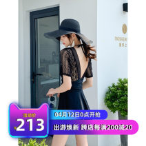 one piece  Tailor made M,L,XL,XXL White, black Skirt one piece Steel strap breast pad polyester fiber CJ08202259 female Long sleeves Casual swimsuit Solid color Bright silk