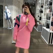 Dress Spring 2021 Pink 38,40,42,44,46 Middle-skirt singleton  commute Crew neck Loose waist Socket other routine 25-29 years old Type H MOSCHINO / MOSCHINO Simplicity CZ1280626 More than 95% cotton