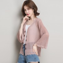 Wool knitwear Spring 2021 M L XL White pink purple black coffee blue apricot three quarter sleeve singleton  Cardigan other More than 95% Super short commute easy routine Solid color Korean version 11-2637_ qJDs4R8prAB 30-34 years old Xiandi Splicing Other 100.00%
