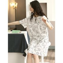 Pajamas / housewear set female Other / other XXL, XXXL, 160 (m), 165 (L), 170 (XL), 4XL White, c5587, s4545 nightdress cotton Long sleeves Simplicity Leisure home summer routine V-neck letter Socket youth 2 pieces rubber string More than 95% Knitted cotton fabric printing 220g