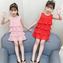 Dress White yellow red pink Other / other female Polyester fiber 60% cotton 35% polyurethane elastic fiber (spandex) 5% summer Korean version Chiffon