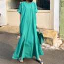 Dress Spring 2021 Noble green M, L longuette singleton  Short sleeve commute Crew neck middle-waisted Solid color Socket other Flying sleeve Oblique shoulder 18-24 years old Type H Korean version Splicing, swallow tail other cotton