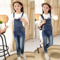 trousers Other / other female Blue red button Suspenders spring and autumn trousers Korean version There are models in the real shooting rompers Leather belt middle-waisted Denim Don't open the crotch GZ16S-112 Class B Four, eight, twelve