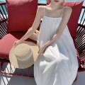 Dress Summer 2021 white S M L XL Middle-skirt singleton  Sleeveless Sweet One word collar Elastic waist Solid color Socket A-line skirt camisole 18-24 years old Huan Ting More than 95% other Other 100% Mori Pure e-commerce (online only)
