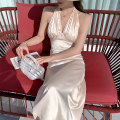 Dress Summer 2021 Apricot S M L longuette singleton  Sleeveless commute V-neck High waist Solid color Socket A-line skirt routine Hanging neck style 25-29 years old Type A Huan Ting Retro More than 95% Silk and satin other Other 100% Pure e-commerce (online only)