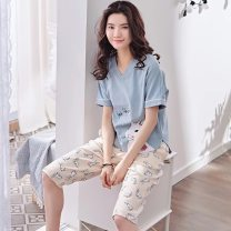 Pajamas / housewear set female Other / other M (in stock! Suitable for 155-160cm, weight 8, l (stock! Suitable for 160-165cm, weight 1, XL (stock! Suitable for 165-170cm, weight, XXL (stock! Suitable for 168-173cm, body, [two sets less than 10 yuan, collection first delivery] cotton Short sleeve 200g
