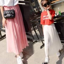 skirt 120cm,130cm,140cm,150cm,160cm,170cm Other / other female Other 100% summer skirt Solid color Pleats Chiffon