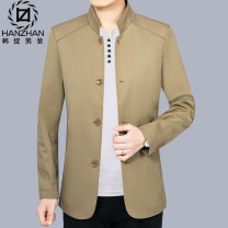 Jacket Han Peng Fashion City 170/M 175/L 180/XL 185/XXL 190/XXXL thin standard Other leisure autumn Polyamide fiber (nylon) 88% polyurethane elastic fiber (spandex) 12% Long sleeves Wear out stand collar Business Casual middle age routine Zipper placket Rubber band hem No iron treatment Solid color