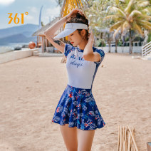 one piece  361° M L XL XXL XXXL Skirt one piece With chest pad without steel support Nylon spandex polyester SLY201088 Autumn of 2019 female Short sleeve Casual swimsuit