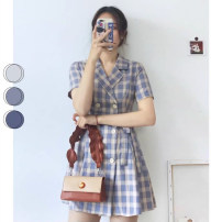 Dress Summer 2021 Purple short purple long S M L XL 2XL Short skirt singleton  Short sleeve commute tailored collar High waist lattice double-breasted A-line skirt routine 18-24 years old Type A NOAO Korean version Button 5651651321994654.66689998 More than 95% other Other 100%
