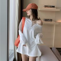 Sweater / sweater Spring 2020 Orange, white, black Average size Long sleeves Medium length Socket singleton  Self cultivation commute routine 18-24 years old Korean version Hollowing out
