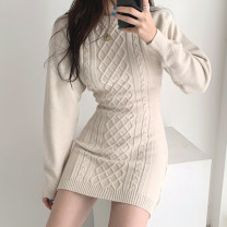 Dress Winter of 2019 Apricot, black Average size Short skirt singleton  Long sleeves commute Crew neck Solid color 18-24 years old Other / other Korean version backless knitting cotton