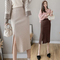 skirt Autumn 2020 Average size Black, light gray, apricot, brown Sweet skirt Solid color Type A knitting