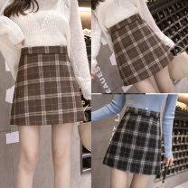 skirt Spring 2020 S,M,L,XL Black, brown Short skirt Sweet High waist A-line skirt lattice 18-24 years old brocade cotton