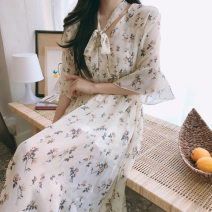 Dress Summer 2020 Black, apricot S,M,L,XL longuette other Short sleeve Sweet other middle-waisted Broken flowers other Big swing other 18-24 years old Chiffon cotton