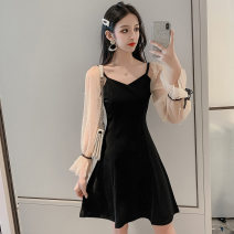 Dress Autumn 2020 black S,M,L,XL Miniskirt singleton  Sweet middle-waisted Solid color zipper Big swing Type A Other / other 8843#