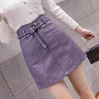 skirt Autumn 2020 S,M,L,XL Purple, black, apricot Short skirt Versatile A-line skirt Solid color Type A