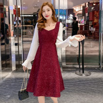 Dress Autumn 2020 gules S,M,L,XL Mid length dress singleton  Sweet middle-waisted Solid color Big swing Type A