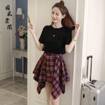 Dress Summer 2021 Black top + plaid skirt, white top + plaid skirt S,M,L,XL Short skirt Two piece set Short sleeve Sweet Crew neck High waist lattice Socket Pleated skirt routine Others 18-24 years old Type A Other / other polyester fiber college