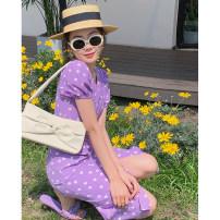 Dress Summer 2021 Succulent grape S,M,L Mid length dress singleton  Short sleeve V-neck High waist zipper A-line skirt routine Type A D8327 More than 95% other