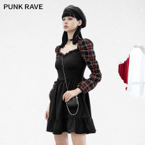Dress Winter 2020 Red and black XS,S,M,L,XL Short skirt singleton  Long sleeves street square neck High waist lattice Socket A-line skirt routine Others 18-24 years old Type A PUNK RAVE Splicing PQ-961LQ 91% (inclusive) - 95% (inclusive) polyester fiber Europe and America